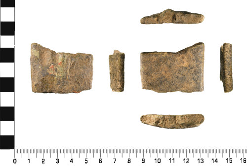 WMID-EA276A: Late Medieval to Post Medieval: Fragment of leg or foot from Copper Alloy Vessel