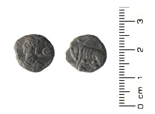 HESH-F29AF1: Roman Coin: Copper alloy nummus of House of Constantine