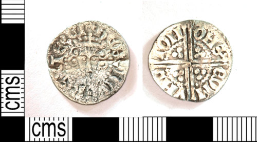 LEIC-B16DDE: Medieval silver  long cross IOH ON SEDMVND