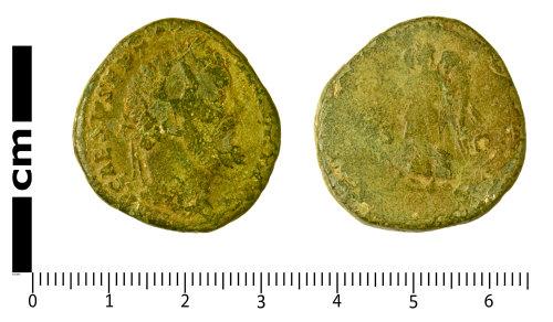 SWYOR-4D7EFF: Roman Coin; sestertius of Septimius Severus