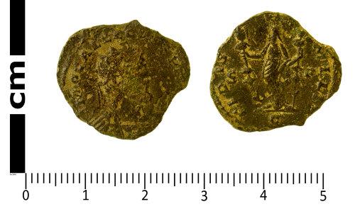 SWYOR-550F63: Roman Coin; Radiate of Allectus, FIDES MILIT