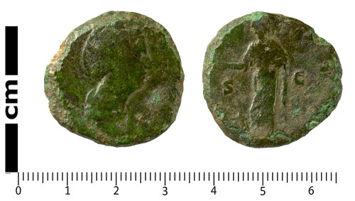 SWYOR-56B57D: Roman Coin; sestertius of Diva Faustina