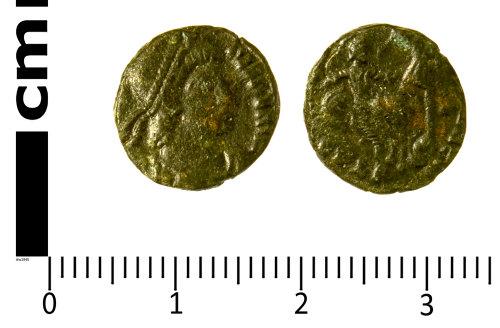SWYOR-DB7EB5: Roman Coin; nummus of Constantius II, FEL TEMP REPARATIO fallen horseman