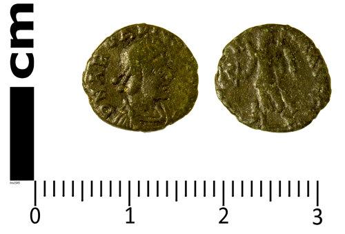 SWYOR-DD2422: Roman Coin; nummus of Arcadius, VICTORIA AVGGG