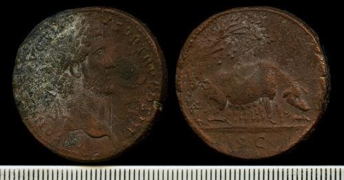 NCL-074F87: Copper alloy sestertius of Antoninus Pius