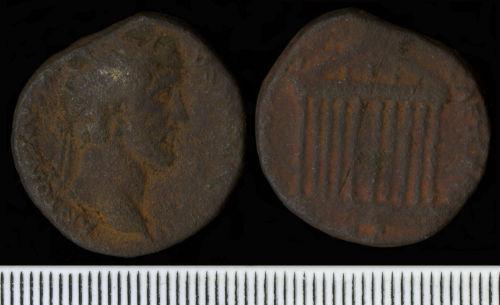 NCL-CEE0D7: Roman Coin:  Dupondius of Antoninus Pius