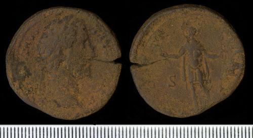 NCL-EDA2D5: Roman Coin:  Sestertius of Antoninus Pius