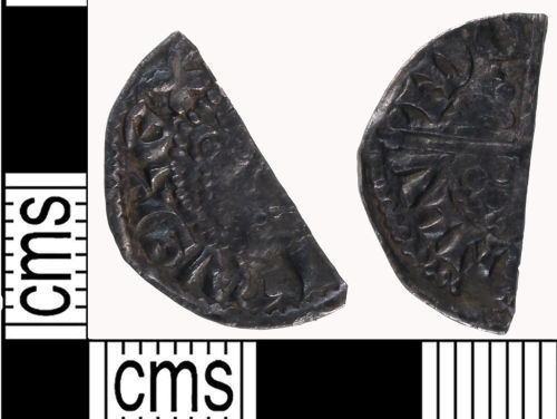 LON-9E9716: cut halfpenny from a voided long cross penny of Henry III