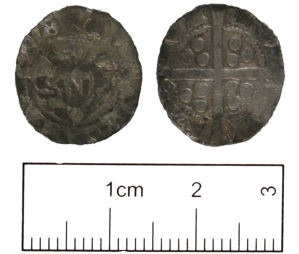 A resized image of A silver half penny of Edward I(1272-1307.