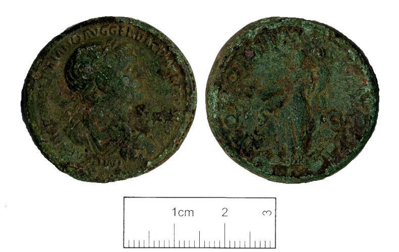 KENT-24D5D1: A copper alloy Sestertius of Trajan 103-111 AD.