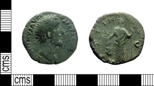 LEIC-17F948: Roman copper alloy Dupondius