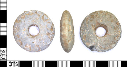 LEIC-32814B: Medieval lead alloy spindle whorl