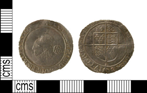 LEIC-3F74C5: Post Medieval silver coin, probably a sixpence, of Elizabeth I
