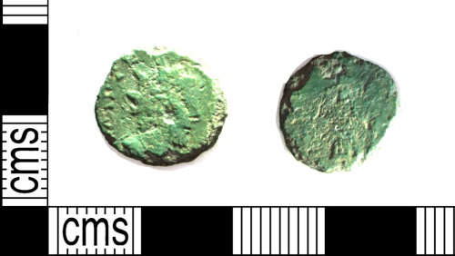 LEIC-44F4BE: Copper alloy radiate coin of Tetricus I