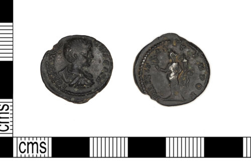 LEIC-48AA60: Roman silver denarius coin of Geta as Caesar
