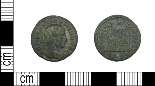 LEIC-4A10F2: Roman copper alloy Nummus of the House of Constantine