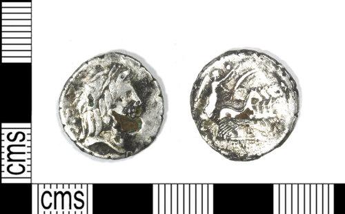 LEIC-798491: Roman silver plated denarius serratus of Q. Antonius Balbus