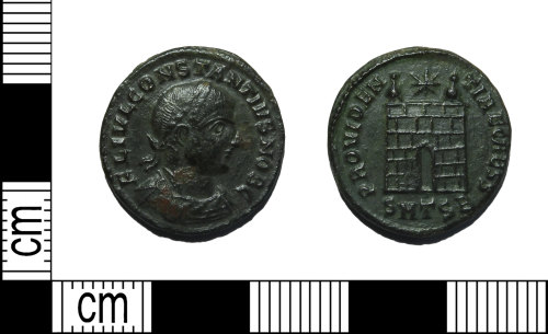 LEIC-79C885: Roman copper alloy nummus of the House of Constantine