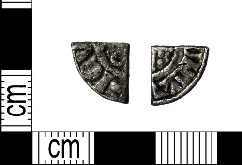 LEIC-7A6FF3: Medieval silver short cross cut quarter penny