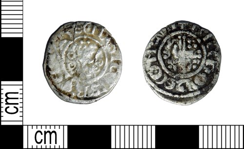 LEIC-7B17BC: Medieval silver voided short cross penny