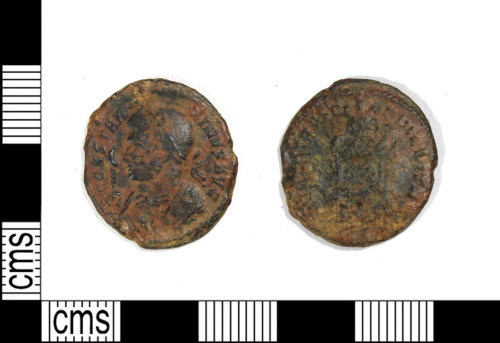 LEIC-8C5DC7: Roman copper alloy nummus of the House of Constantine