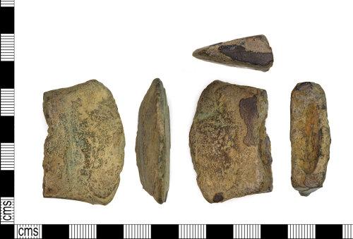 LEIC-91B859: Bronze age copper alloy axe fragment