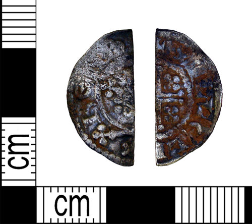 LEIC-95CFBD: Medieval silver voided short cross cut halfpenny