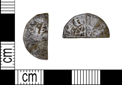 LEIC-97774F: Medieval Scottish silver voided long cross cut halfpenny of Alexander III
