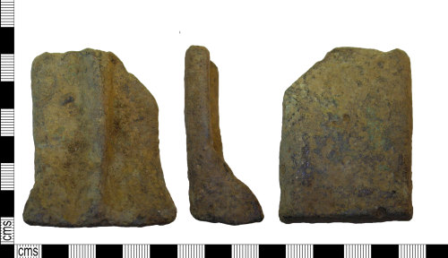LEIC-A05975: Late medieval copper alloy pot leg