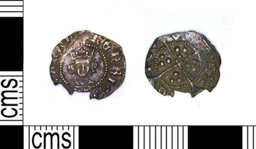 LEIC-A089C8: Medieval silver penny, possibly Henry V / VI