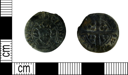LEIC-A23F01: Medieval silver long cross penny of Robert of Bethune, Count of Flanders