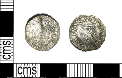 LEIC-FA9964: Post medieval silver penny of James I