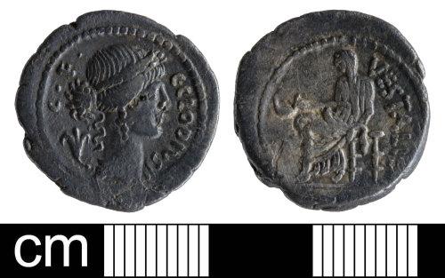 SOM-1D564B: Roman coin: Republican denarius of C F C Clodius