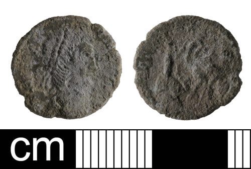 SOM-B0FCB3: Roman coin: contemporary copy of a nummus of the House of Constantine