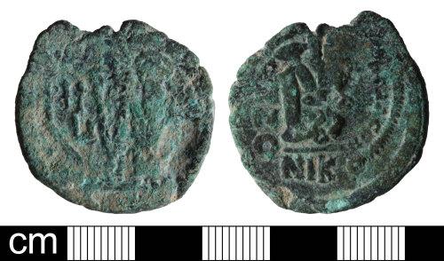 DEV-AF8681: Byzantine nummus of Tiberius Constantine
