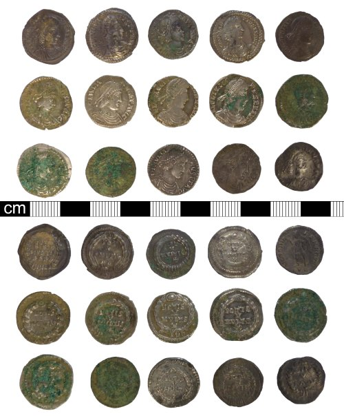 A resized image of Roman coins: 15 contemporary copies of silver siliquae
