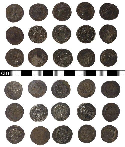 A resized image of Roman coins: 15 siliquae of Constantius II, RIC VIII, 216