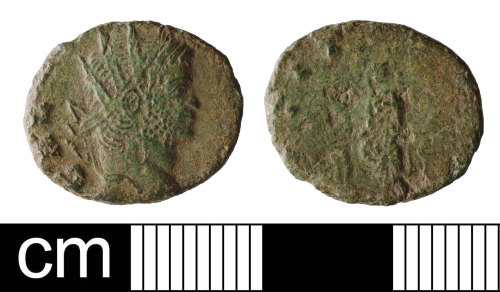 NMS-DB35F5: Roman coin: contemporary copy of a radiate of Gallienus