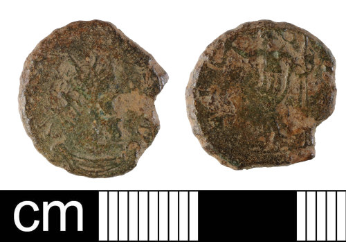 NMS-DB6875: Roman coin: contemporary copy of a radiate of Victorinus or Tetricus I