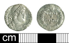 A resized image of Roman coin: siliqua of Valentinian I