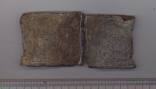 BH-788A73: Post-medieval lead frieze from stoneware (?) vessel - side 1