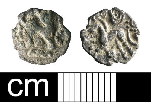 BH-2052B1: Iron Age coin: Eastern silver half unit, attributed to the Catuvellauni or Trinovantes
