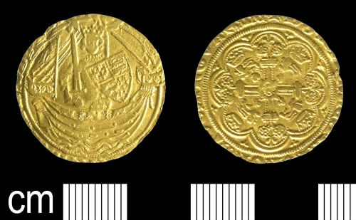 BH-BD2073: Medieval coin: Half Noble of Edward III