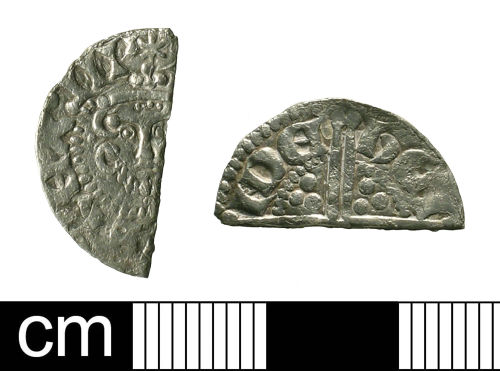BH-F41D76: Medieval coin: cut halfpenny of Henry III