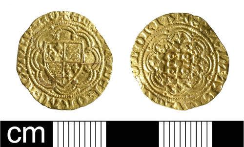 BH-9E0693: Medieval coin: quarter noble of Edward III
