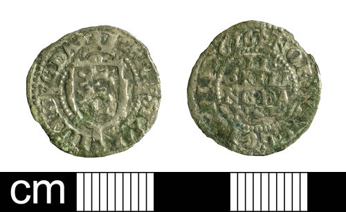 BH-B7BEA6: Post-Medieval coin: two skillings of Christian IV of Denmark