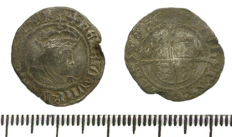 BH-54F5E6: Half groat of Henry VIII