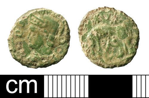 A resized image of Roman coin: nummus of the House of Constantine