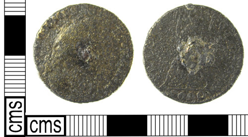LON-C810EC: A Post Medieval tin farthing of William and Mary (1690).