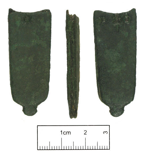 A resized image of Medieval composite strap end with a forked spacer